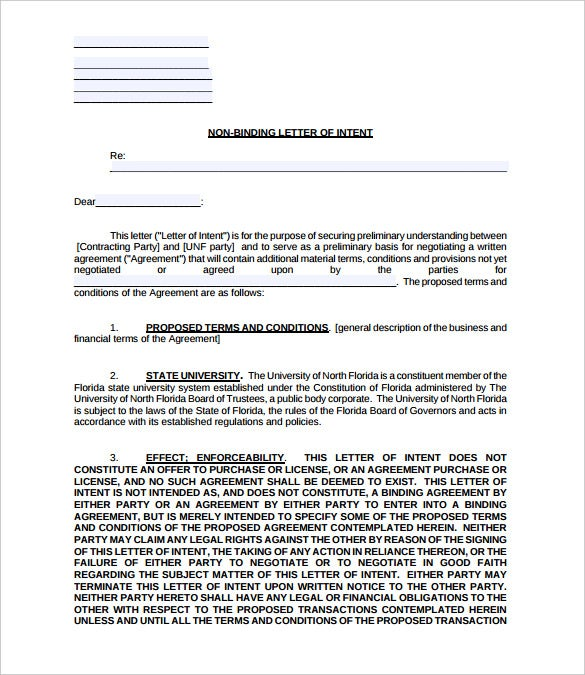 Letter Of Intent   Free Word Pdf Documents Download  Free