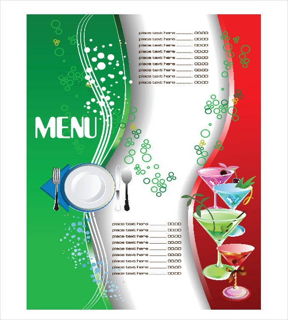 Free Menu Template EPS  Free Menu Templates Microsoft Word