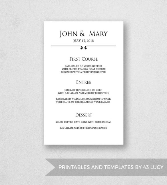wedding menu template printable