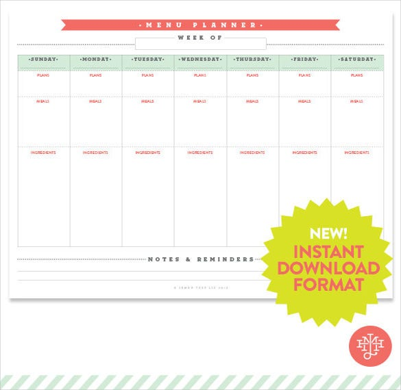 menu planner printable instant download