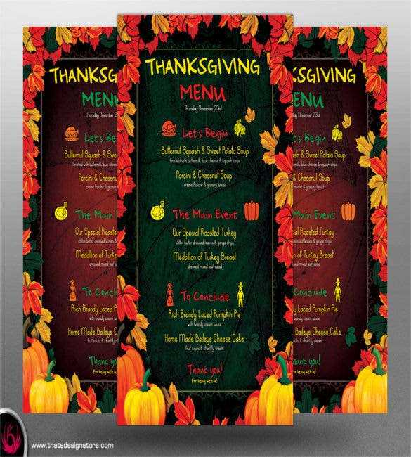 thanksgiving menu psd template