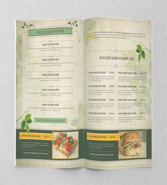 healthy food menu