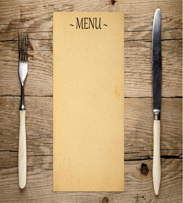 blank menu fork and knife1