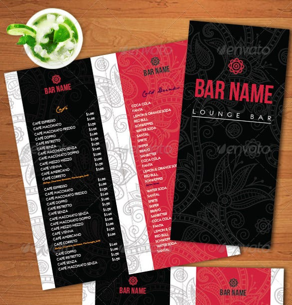 lounge bar menu template