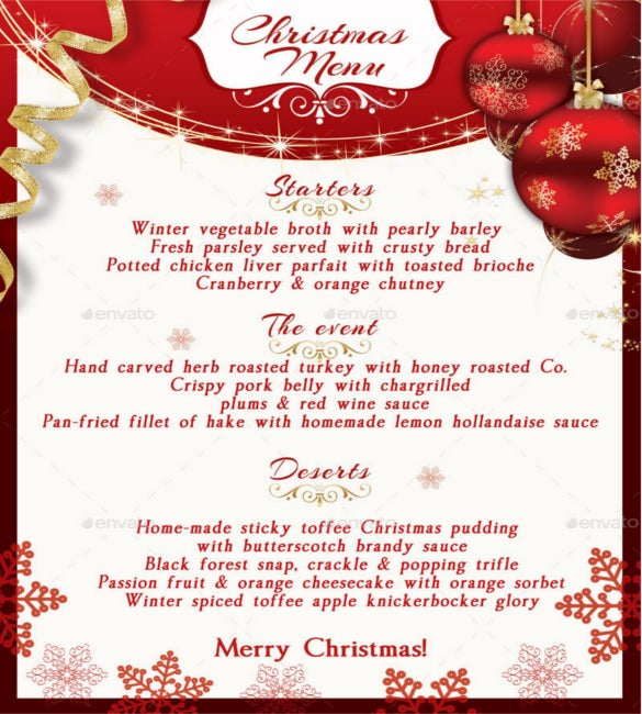 christmas menu template psd