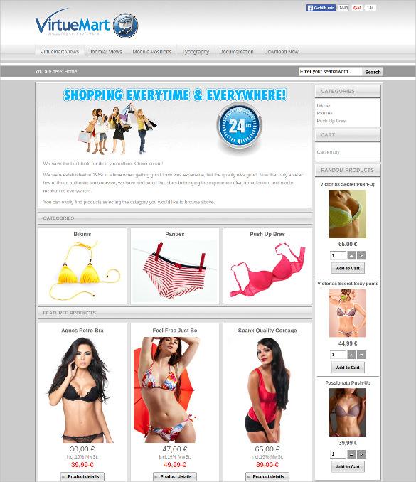 free virtuemart apparel store virtuemart template