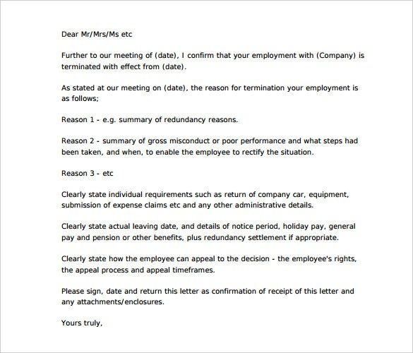 Beautiful Termination Letter Sample To Employer PDF Format Intended Company Termination Letter