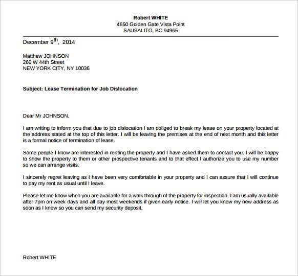 terminate lease letter toledo