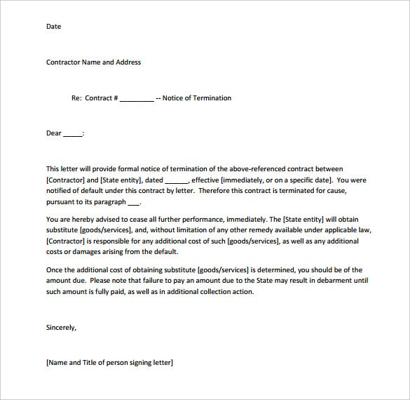 Service Cancellation Letter Outline Templates Landlord Rental
