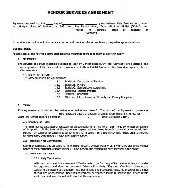 vendor service agreement letter free pdf download - Sample Termination Letter Without Cause