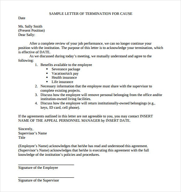 sample cause of job termination letter free pdf