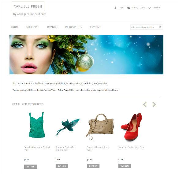 free women accessories store zencart template