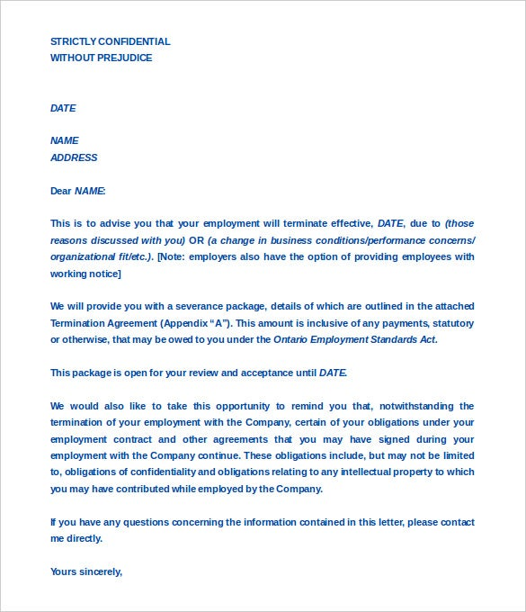 Termination letters 21 free word pdf documents download sample termination agreement between company employee format spiritdancerdesigns Images