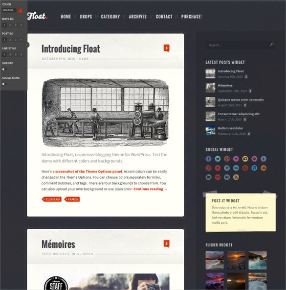 float responsive blog theme
