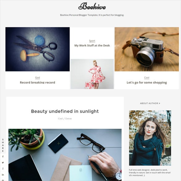 beehive personal blogger template