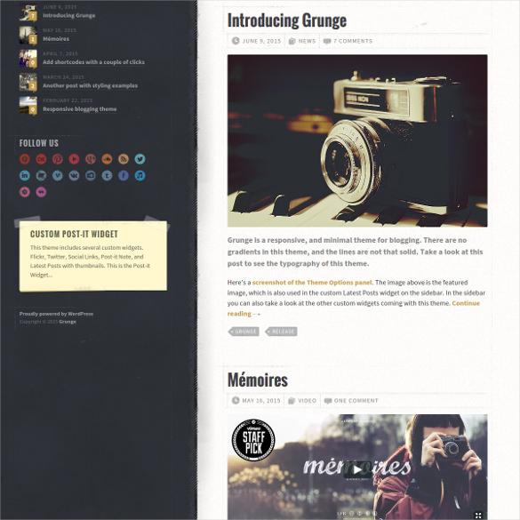 grunge responsive blog theme
