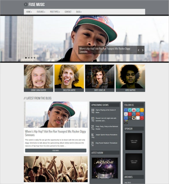 clean music band wordpress blog theme