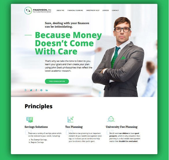 financial advisor responsive wordpress blog theme