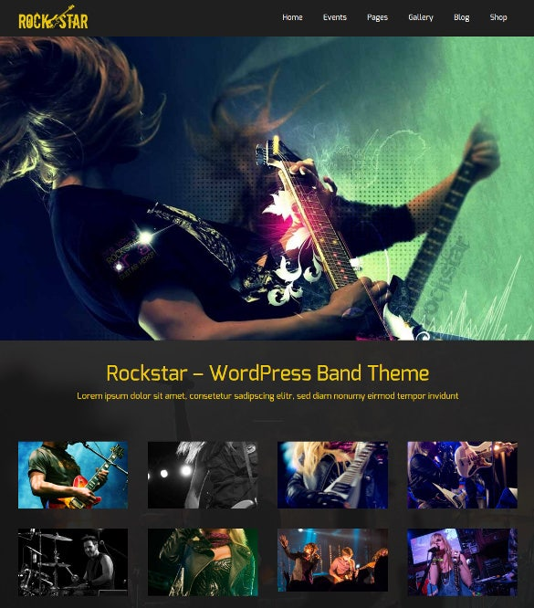 responsive rockstar band wordpress blog theme