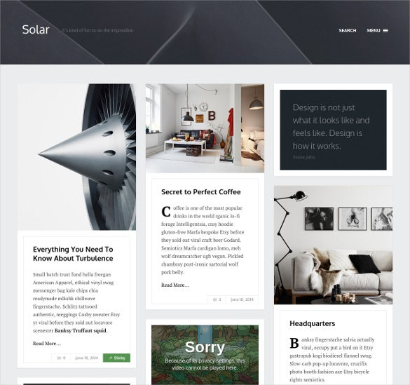 solar responsive blog theme