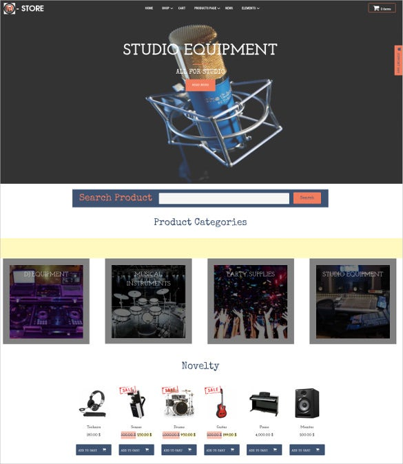 music equipment wordpress blog template