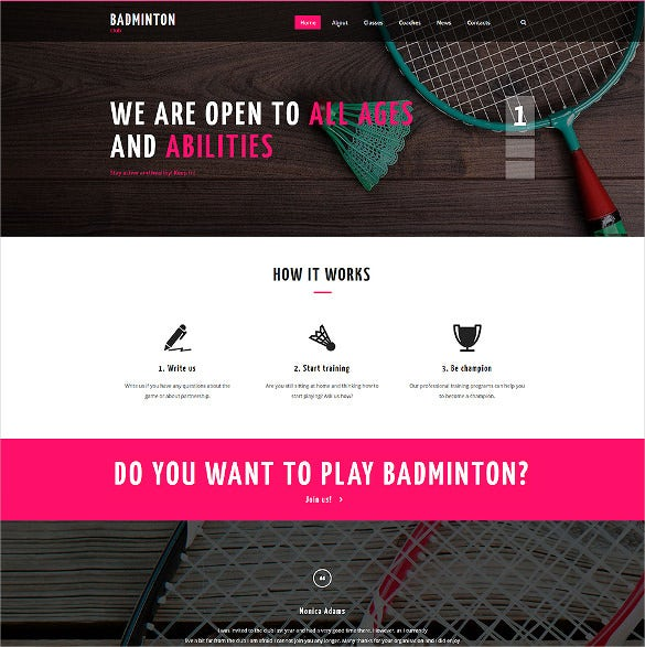 badminton club website psd template