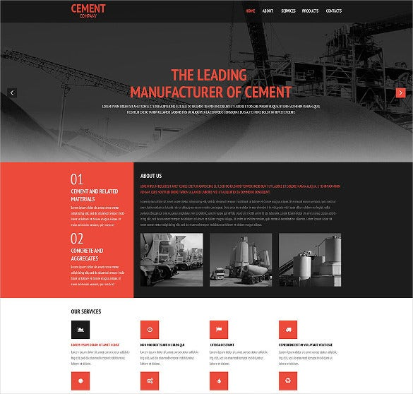 cement coating website psd template