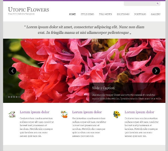 utopic flowers free psd website template