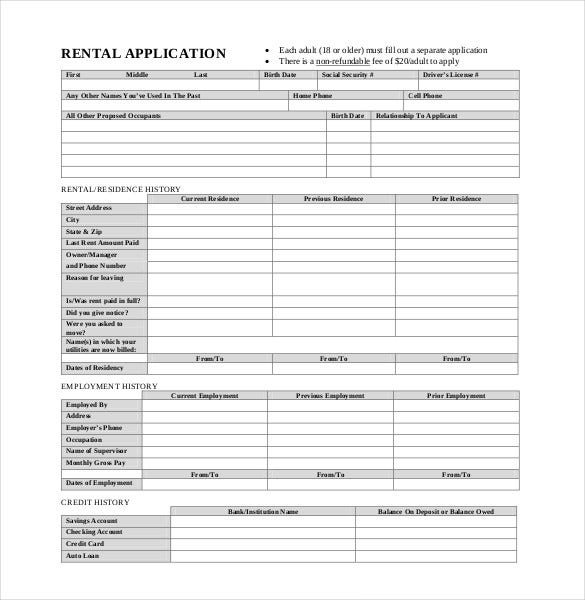 basic rental application pdf format