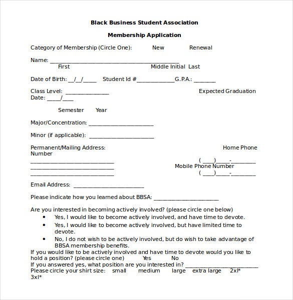 Association Membership Form Template Word Format  Application Templates For Word