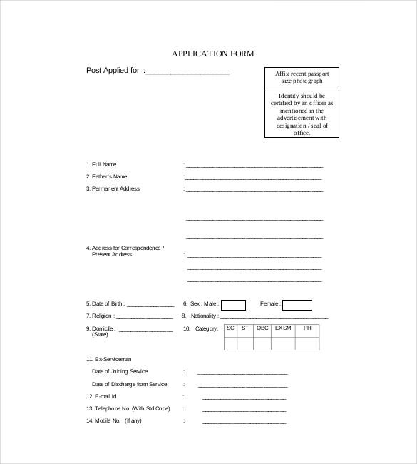 application form for employee pdf format