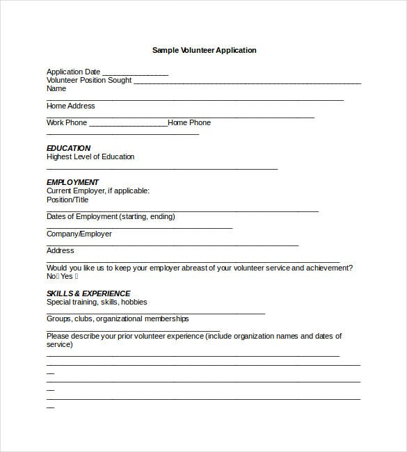 Volunteer Application Template For Nonprofit Word Format On Application Templates For Word