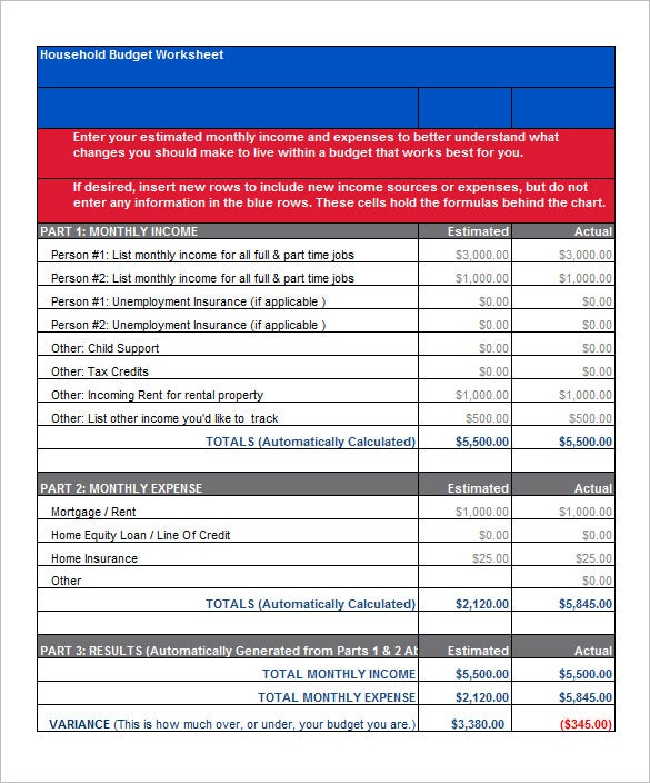 household budget worksheet template excel format download