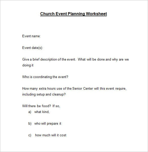 sample church event planning worksheet template word doc