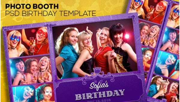 girls photo booth invtation template