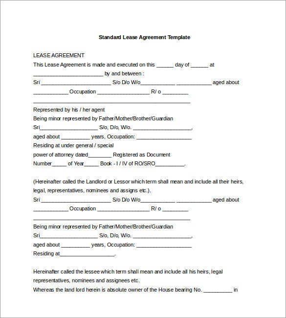 Standard Lease Agreement Template Word Format  Free Lease Agreement Forms To Download