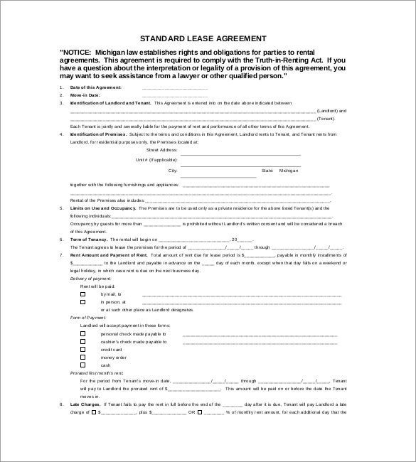 free lease agreement template pdf
