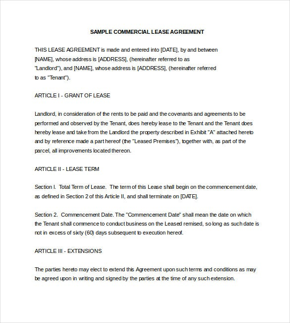 Sample Commercial Lease Agreement Word Format