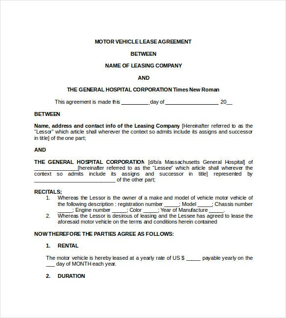 Motor Vehicle Lease Agreement Doc