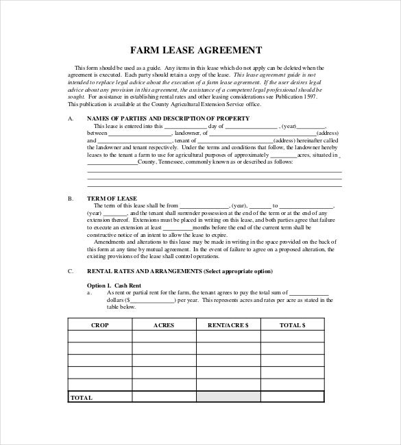 17 lease template doc pdf free premium templates for Farm partnership agreement template