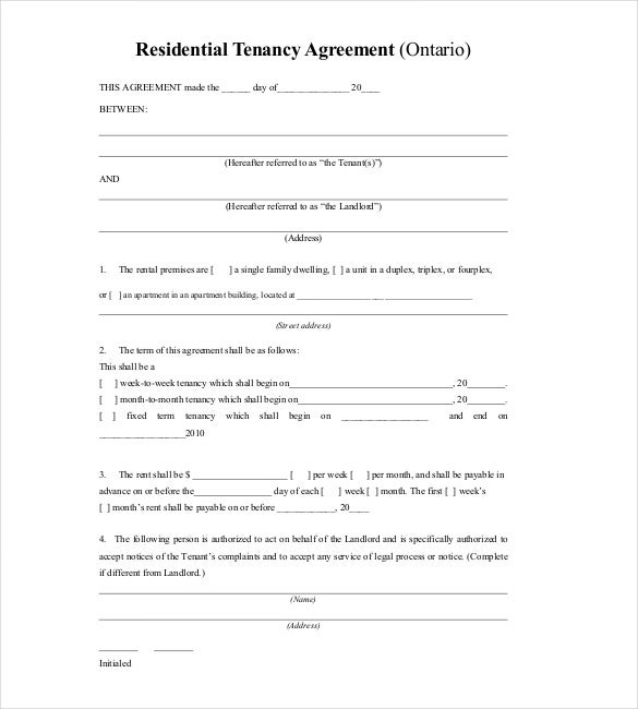 Lease Template 18 Free Word Excel PDF Documents Download – Tenancy Agreement Template