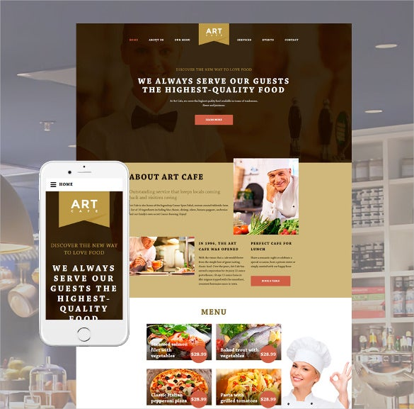 art cafe website html5 template