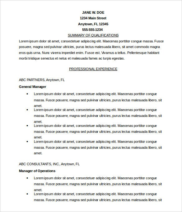 Free Microsoft Word Resume Format Editable Download