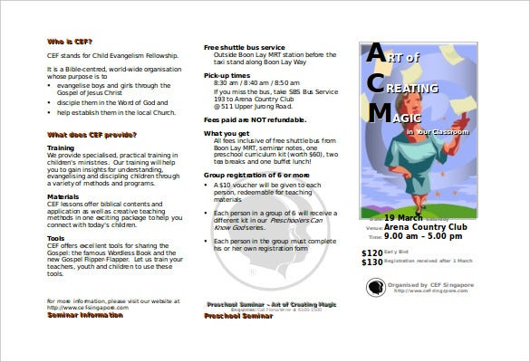sample brochure created in microsoft word