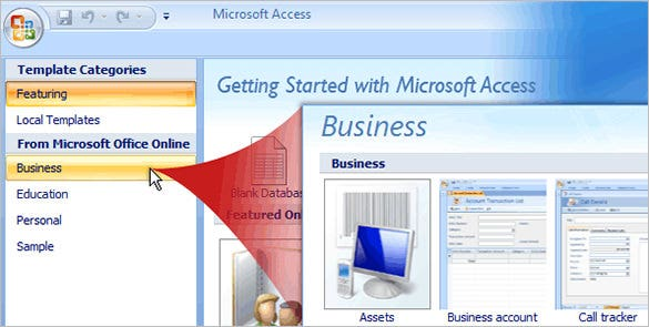 printable microsoft access database template free