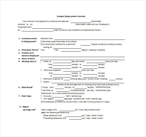 employers contract template - contract template 24 free word excel pdf documents
