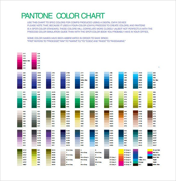 Color Chart Templates   Free Pdf Format Download  Free