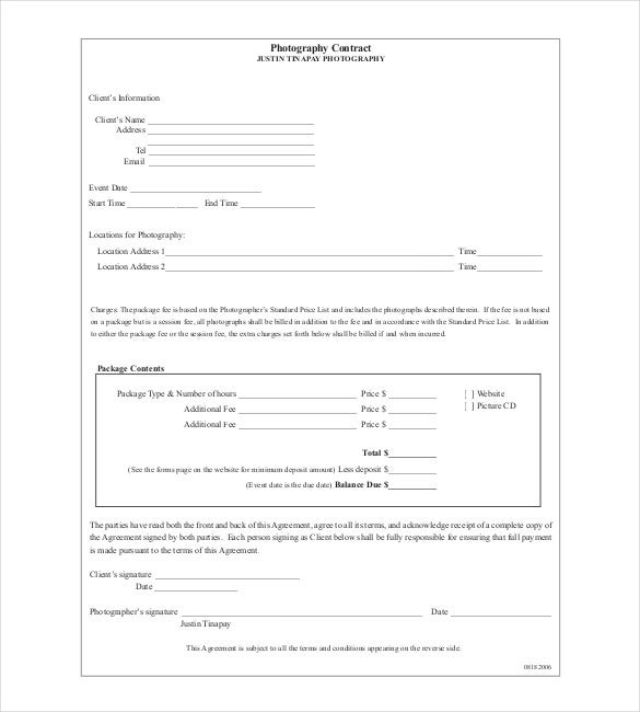 Contract template 24 free word excel pdf documents for Photographer contracts templates