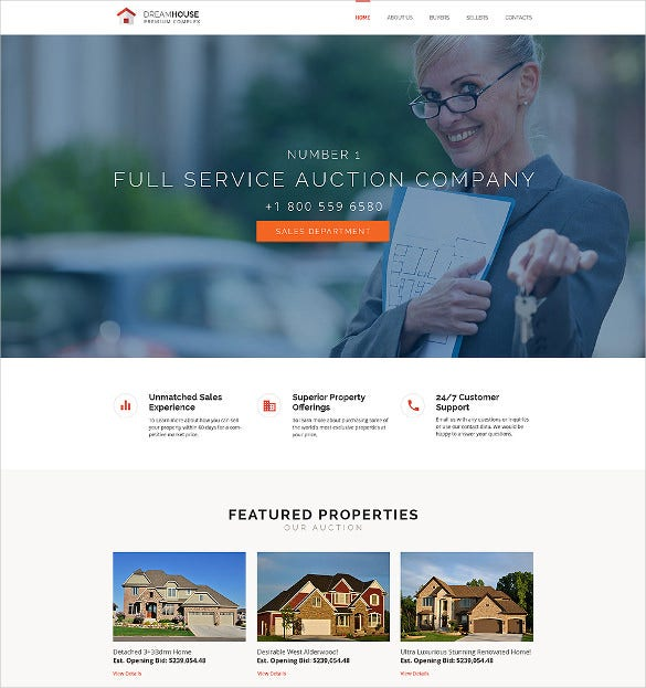 51 business bootstrap themes templates free premium templates real estate agency business bootstrap website template 75 friedricerecipe Choice Image