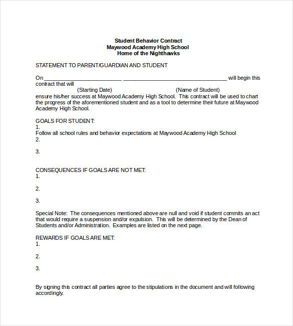 Beautiful Student Behavior Contract Template Word Format And Contract Templates For Word